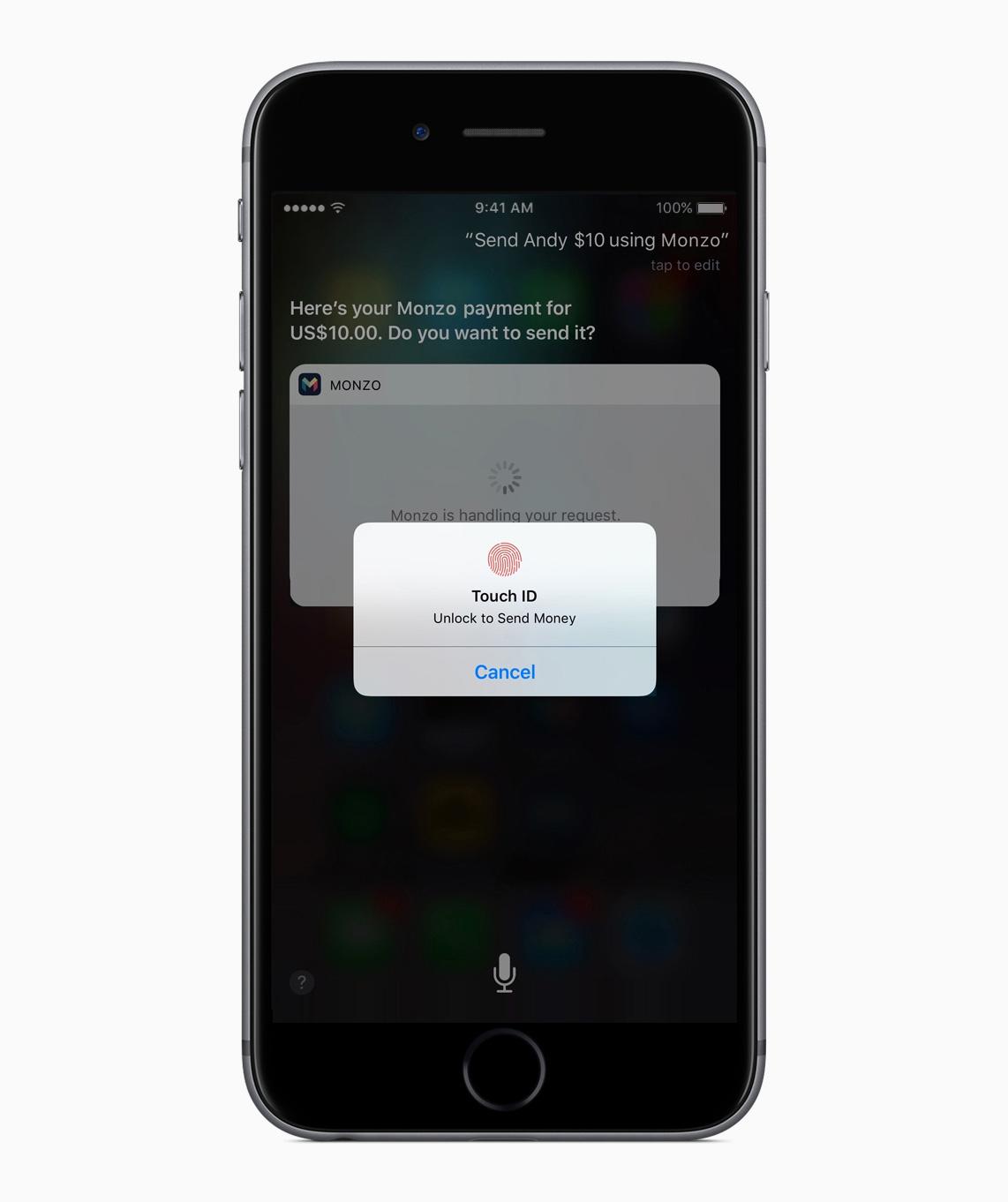 Integração da Siri com o app Monzo