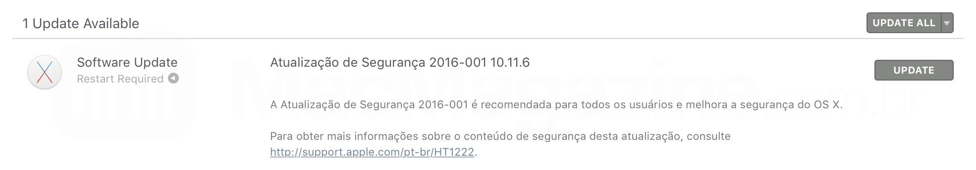 Update de segurança para o OS X El Capitan 10.11.6