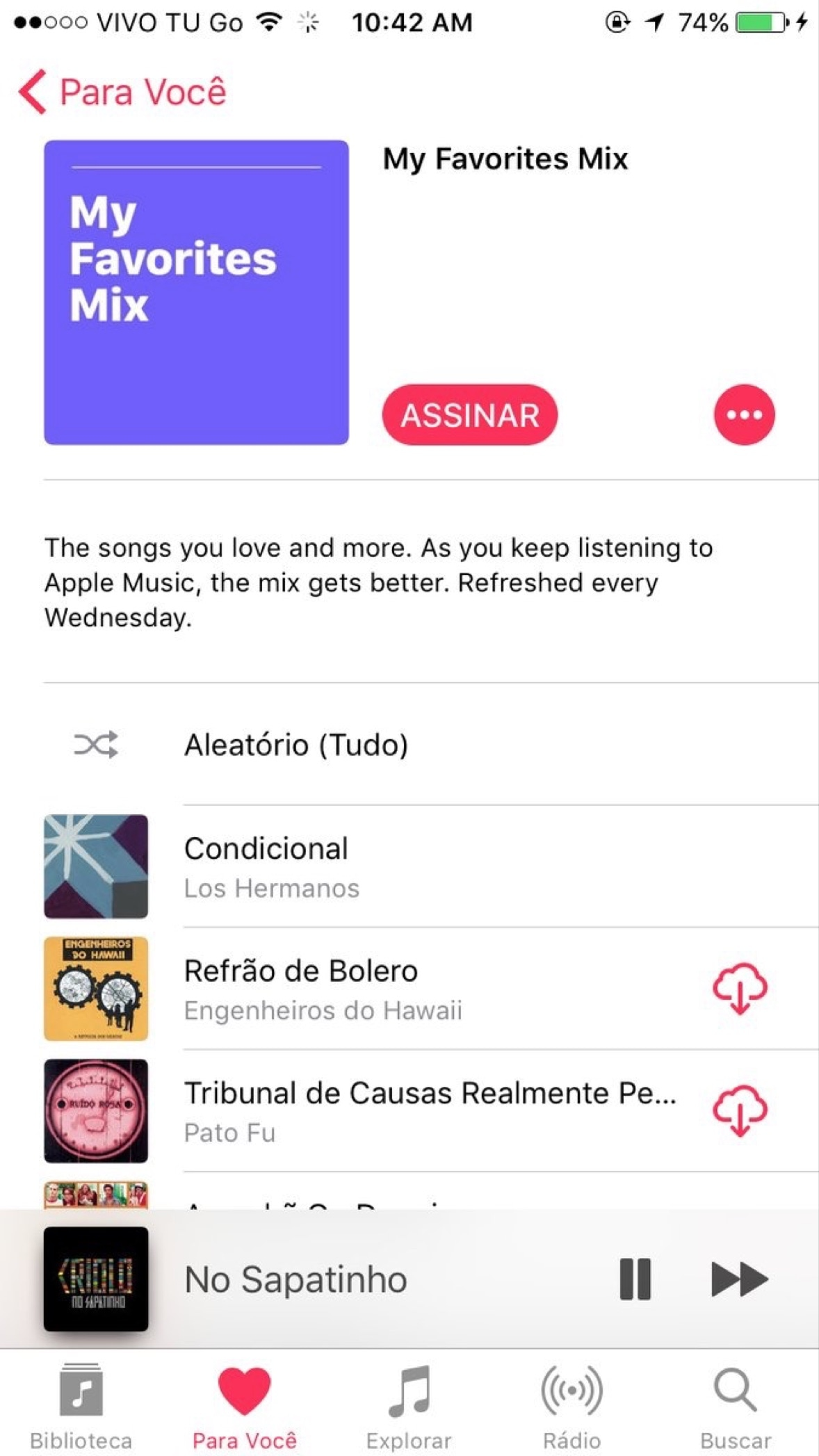 Playlist My Favorite Mix, no Apple Music