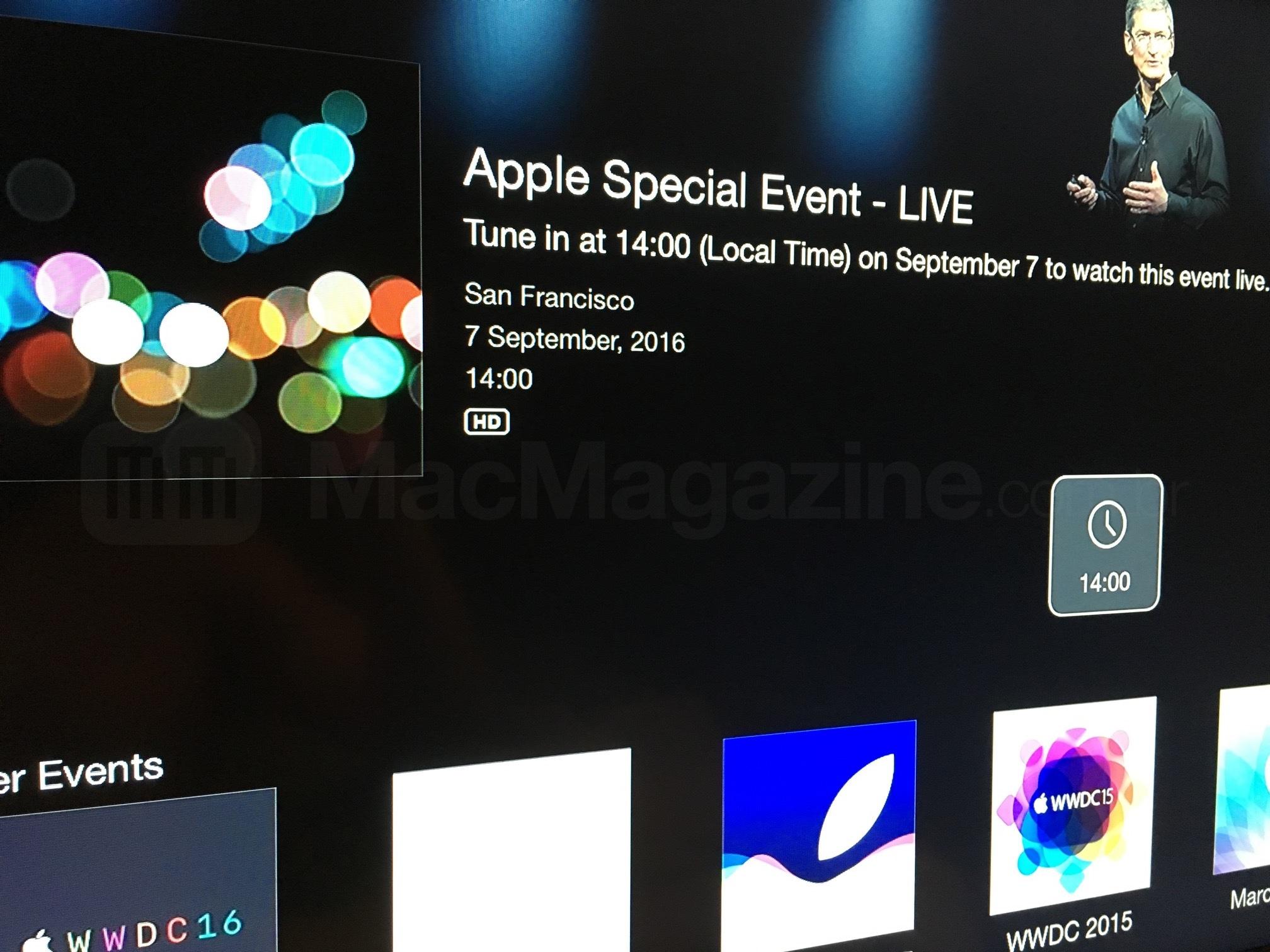 "Canal do evento especial do ""iPhone 7"" na Apple TV"