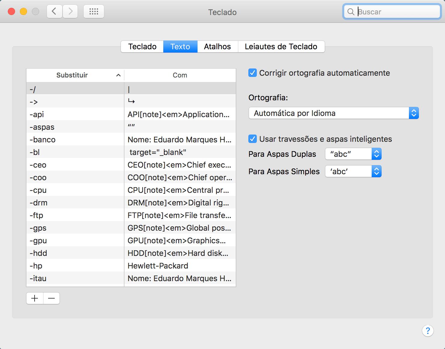 Opção de corrigir textos automaticamente nas Preferências do Sistema