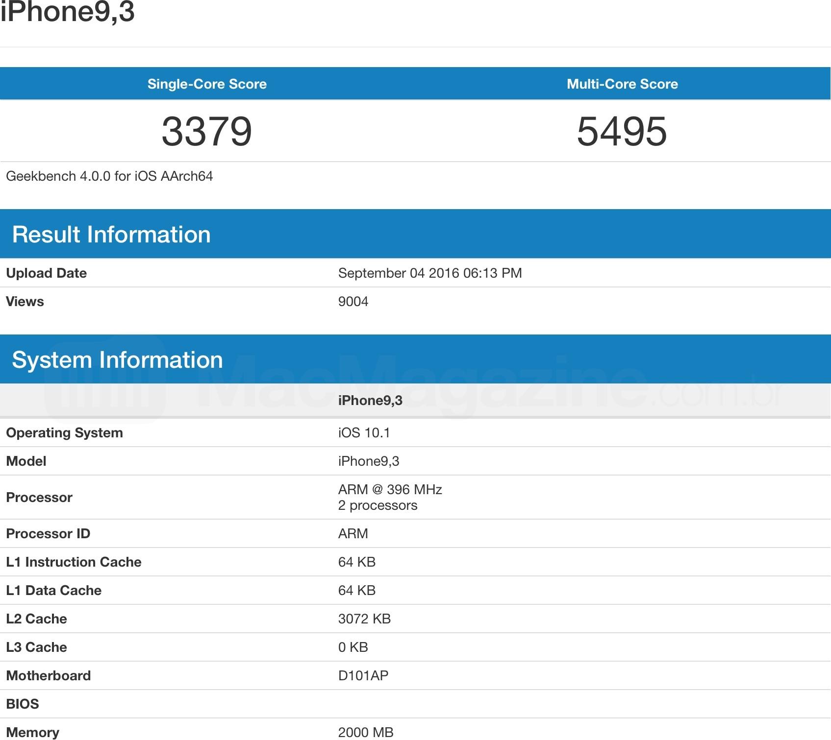 """Supostos benchmarks do """"iPhone 7"""""""