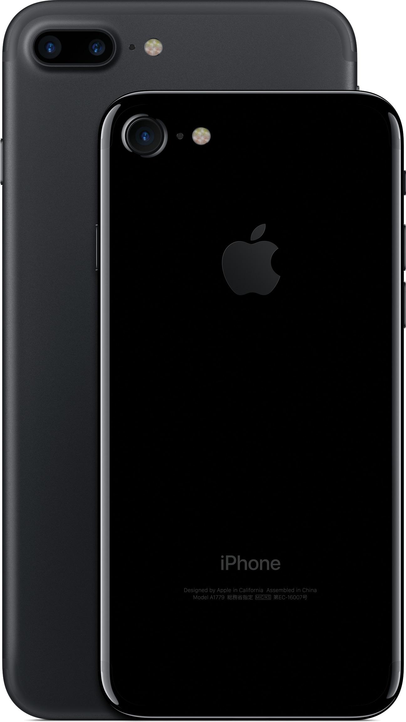 iPhone 7 Plus preto de costas e iPhone 7 jet black de costas