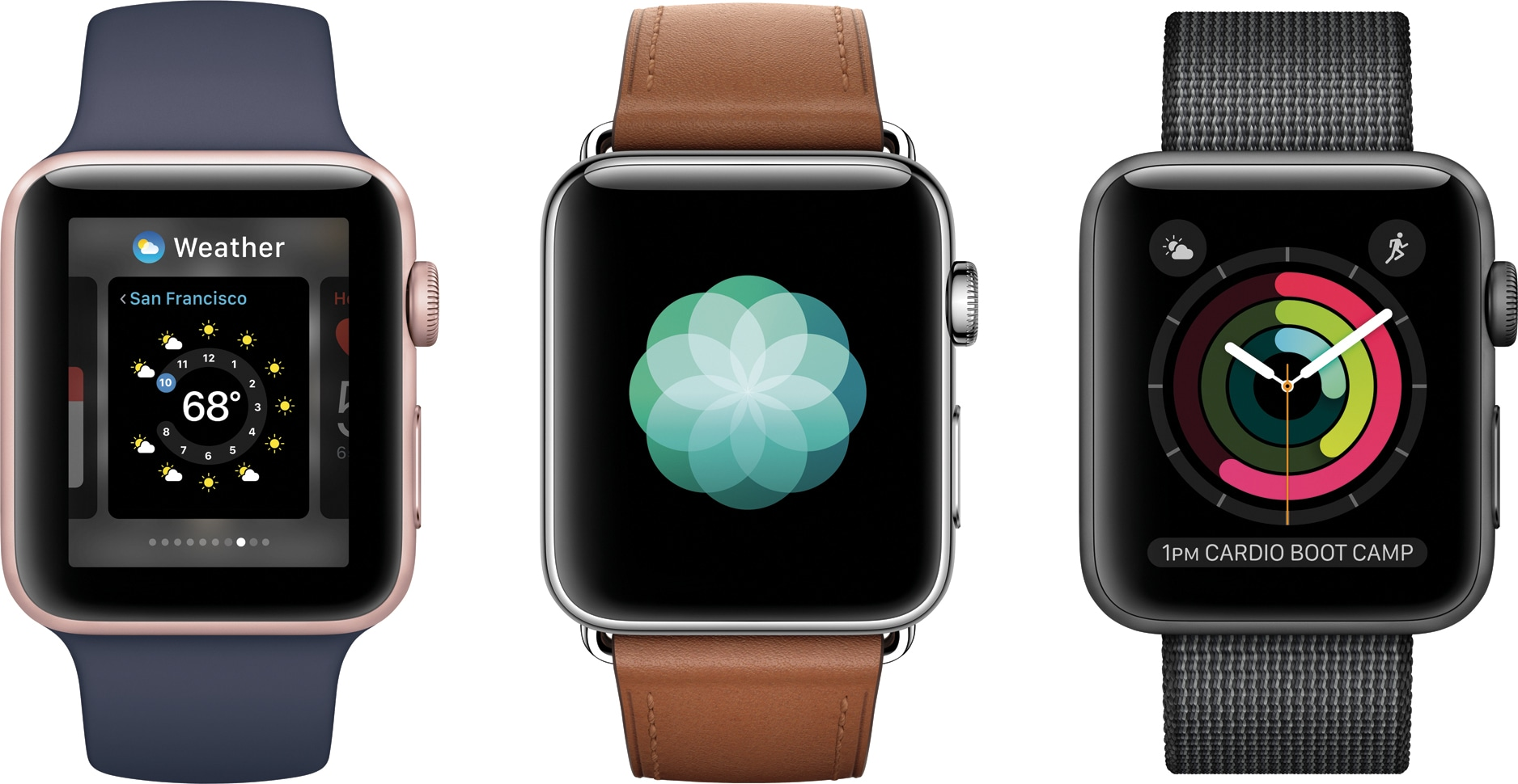 Modelos variados do Apple Watch Series 2 de frente
