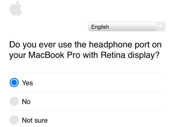 Pesquisa da Apple para usuários de MacBook Pro sobre entrada para fones de ouvido