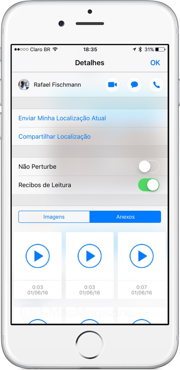 Recibo de leitura individual no iMessage do iOS 10
