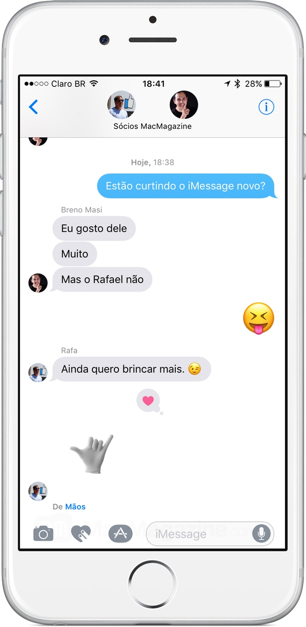 Participantes de um grupo no iMessage do iOS 10