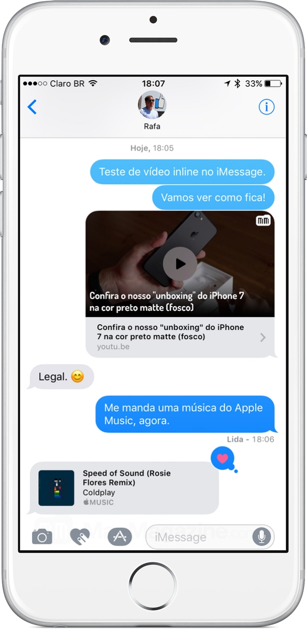 Vídeo e áudio inline no iMessage do iOS 10
