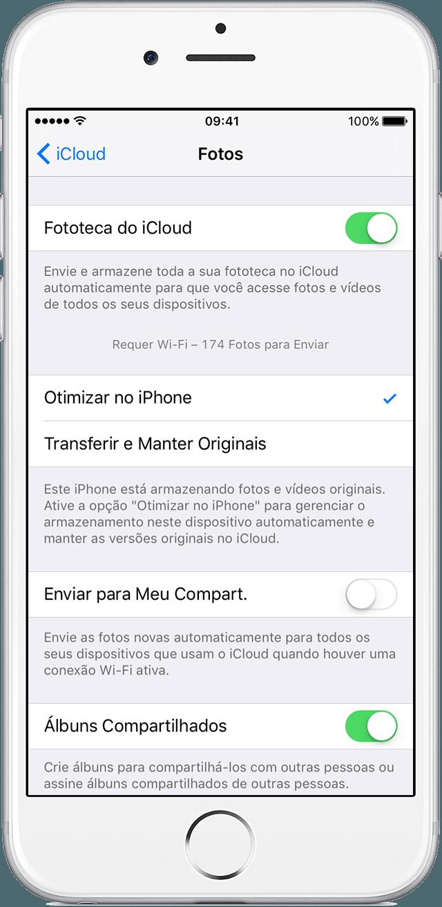 Ajustes da Fototeca do iCloud em um iPhone