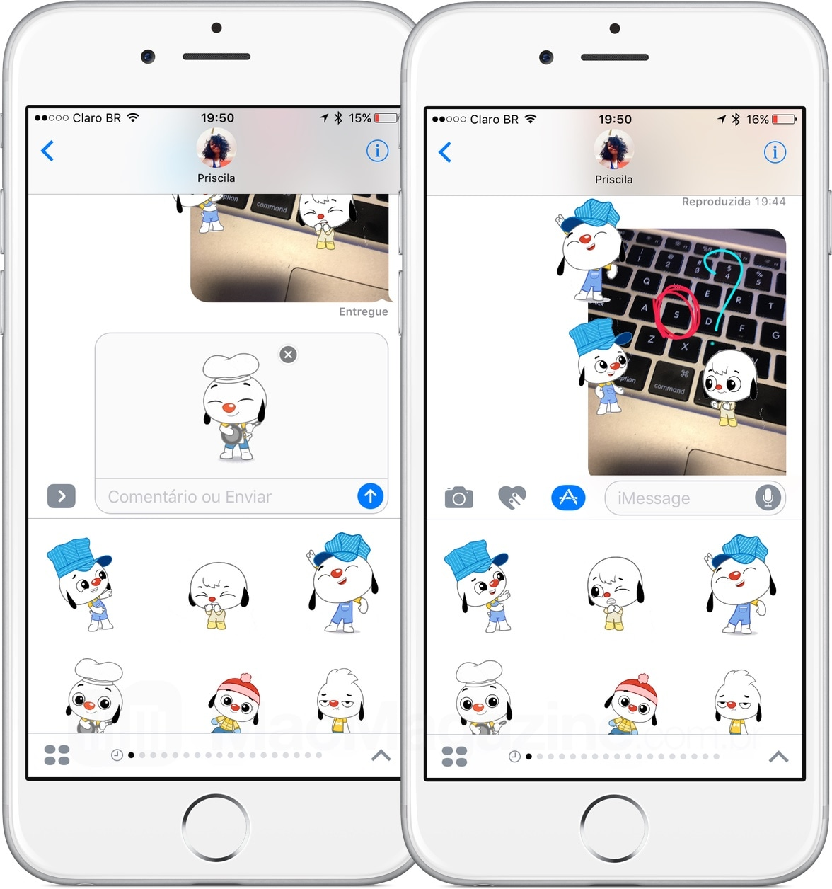 Adesivos no iMessage do iOS 10