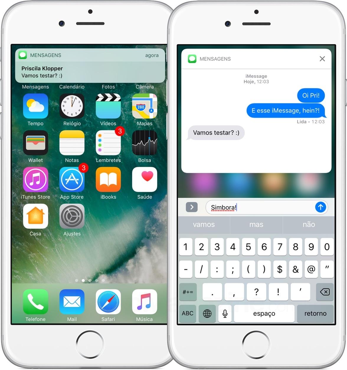 Notificações ricas para o iMessage do iOS 10