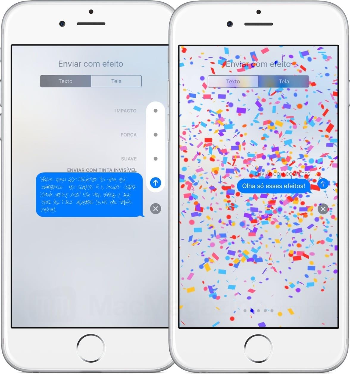 Efeitos no iMessage do iOS 10