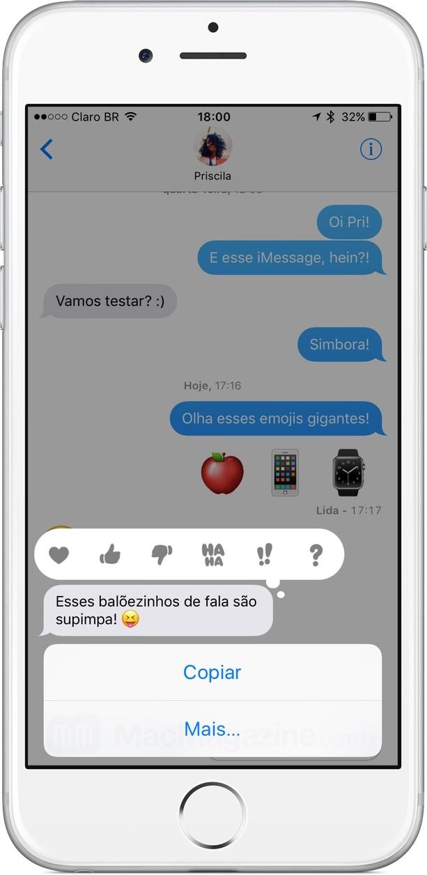 Tapback no iMessage do iOS 10