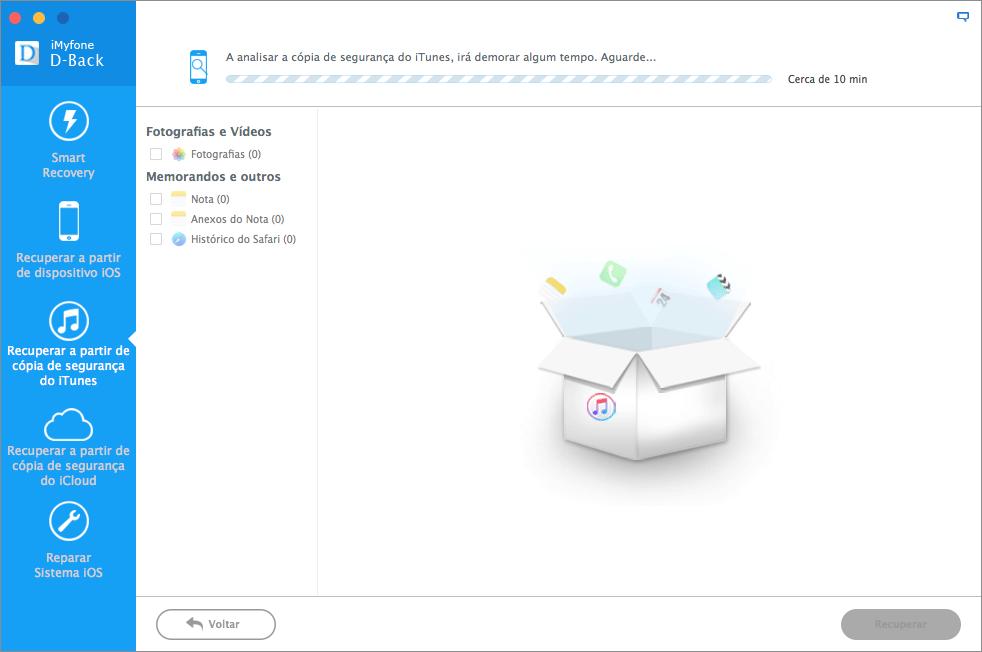 Aplicativo iMyfone D-Back para Mac