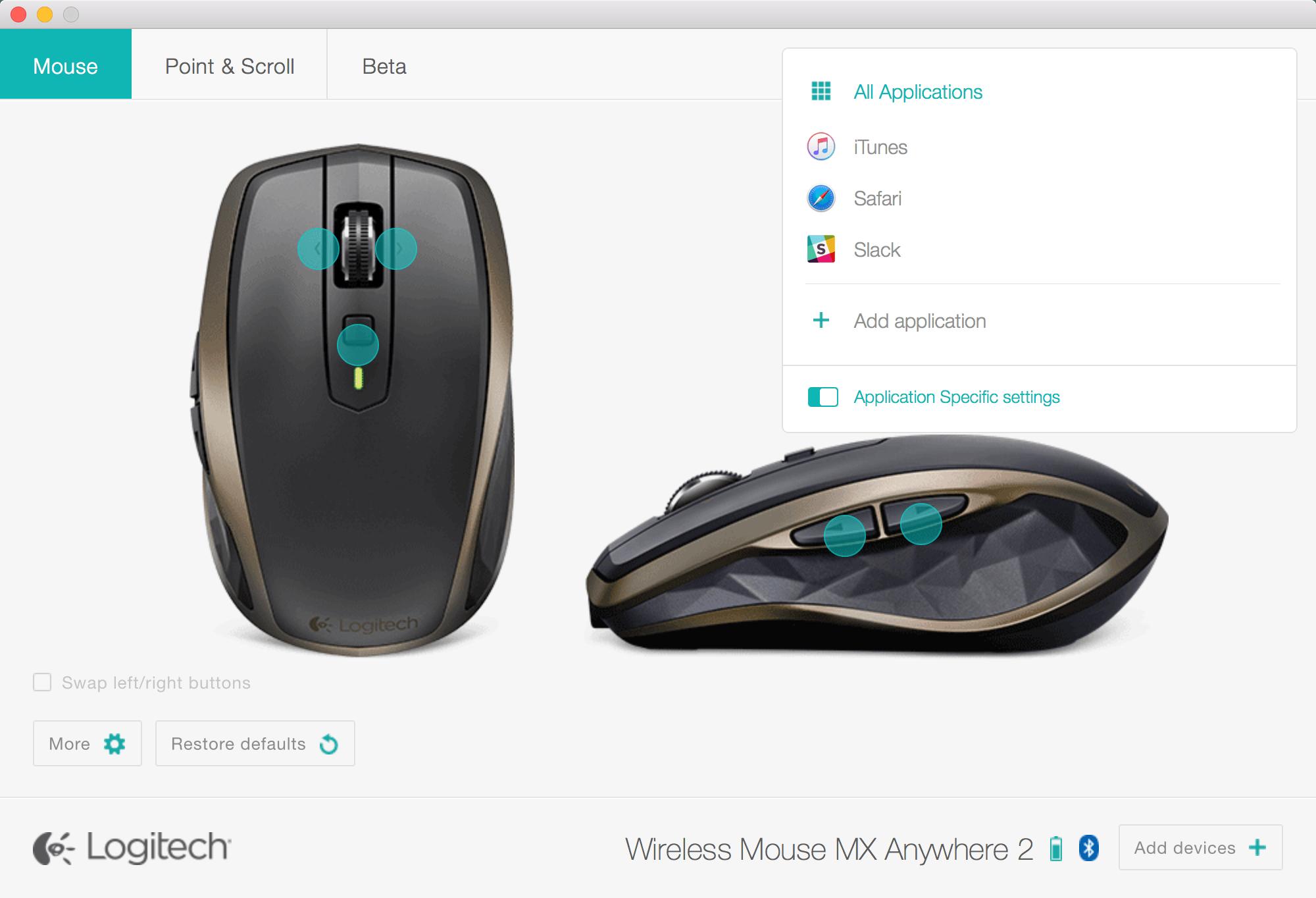 Utilitário Logitech Options