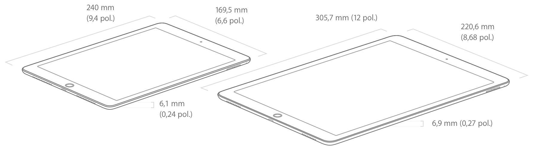 Dimensões dos iPads Pro