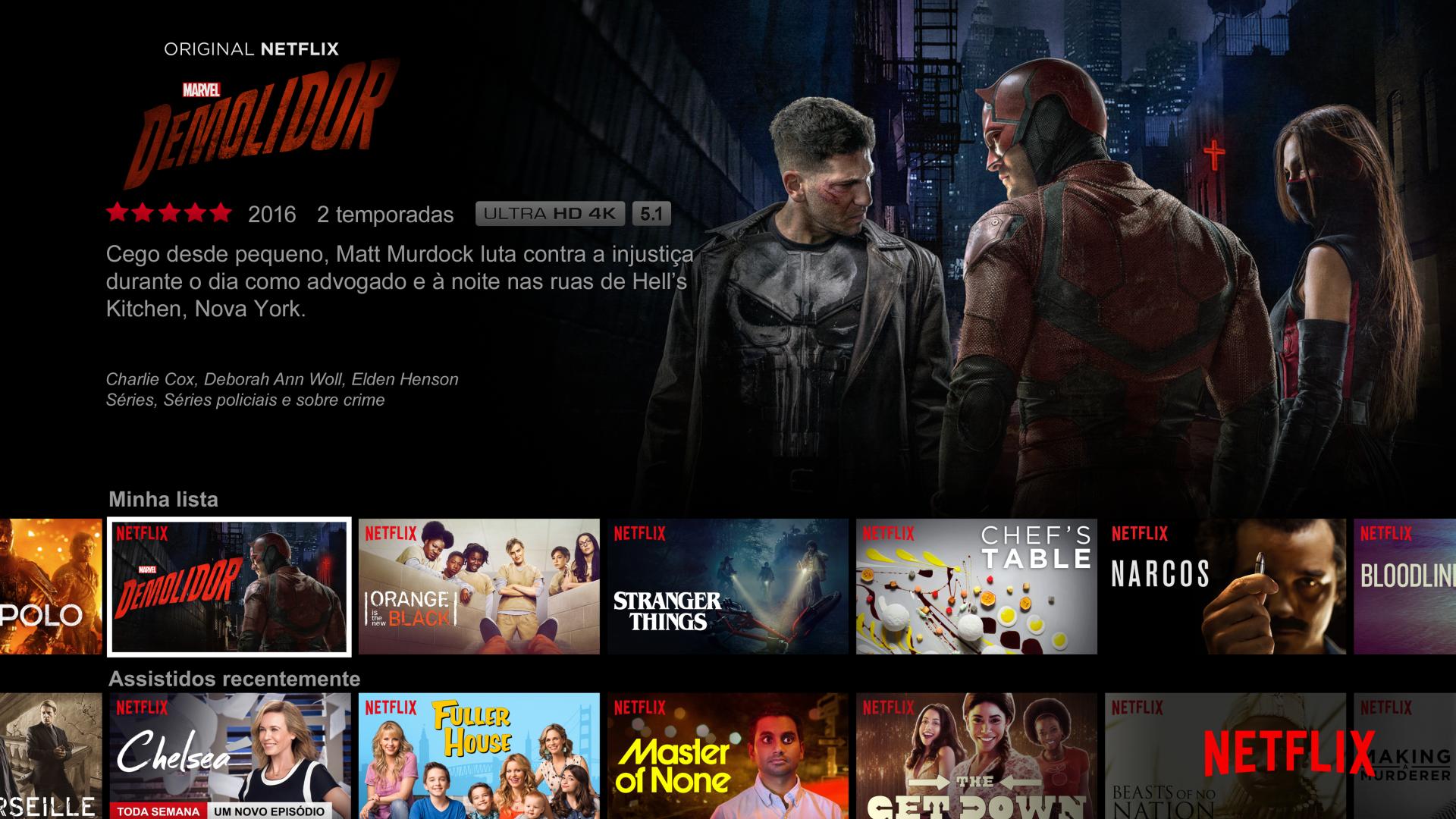Tela principal da Netflix em português