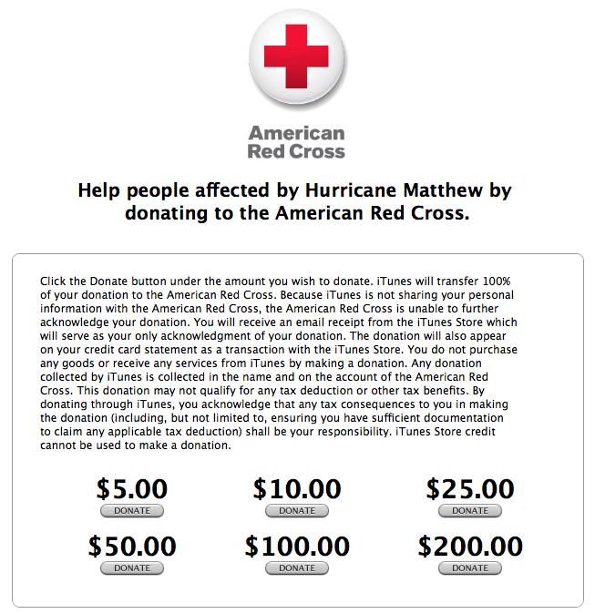 Página de doações para vítimas do furacão Matthew no iTunes