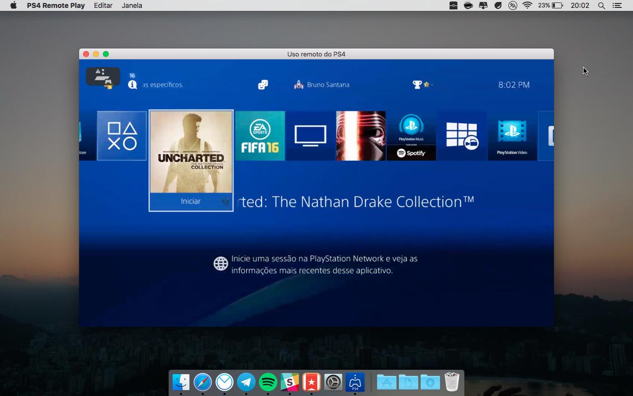 Remote Play do PS4 rodando no Mac