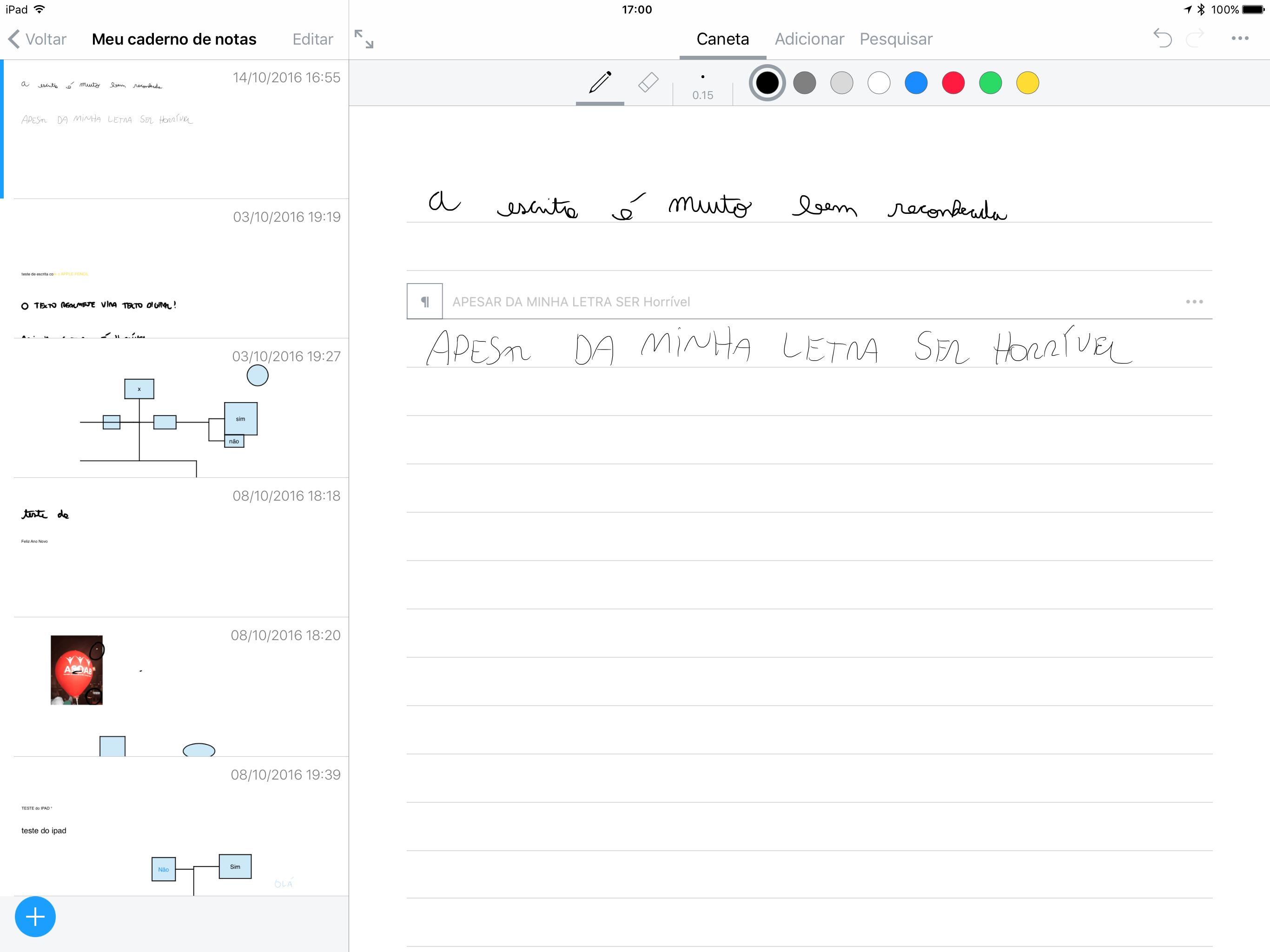 Test de escrita no app Nebo para iOS (iPads)
