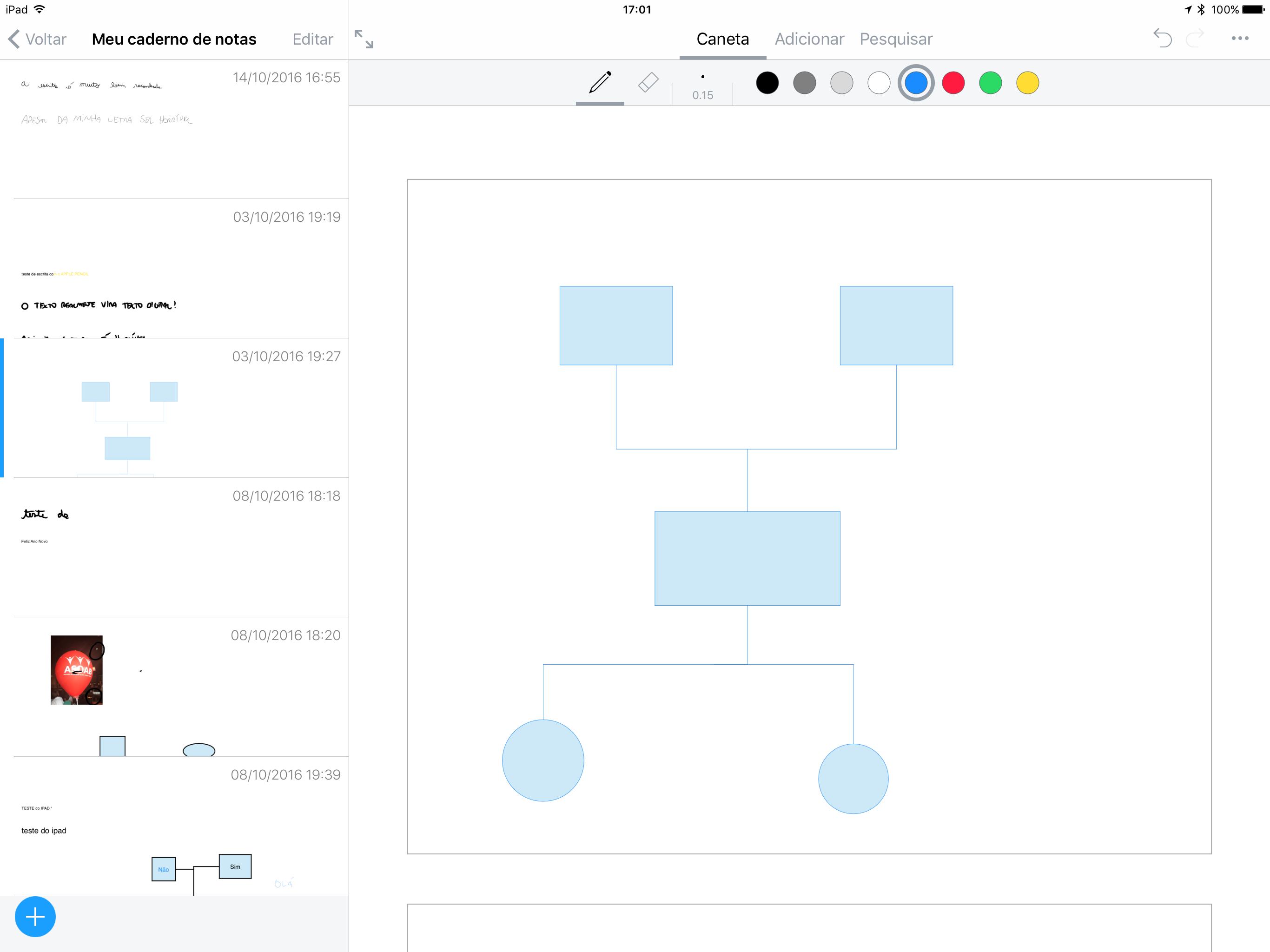 Diagramas no app Nebo para iOS (iPads)