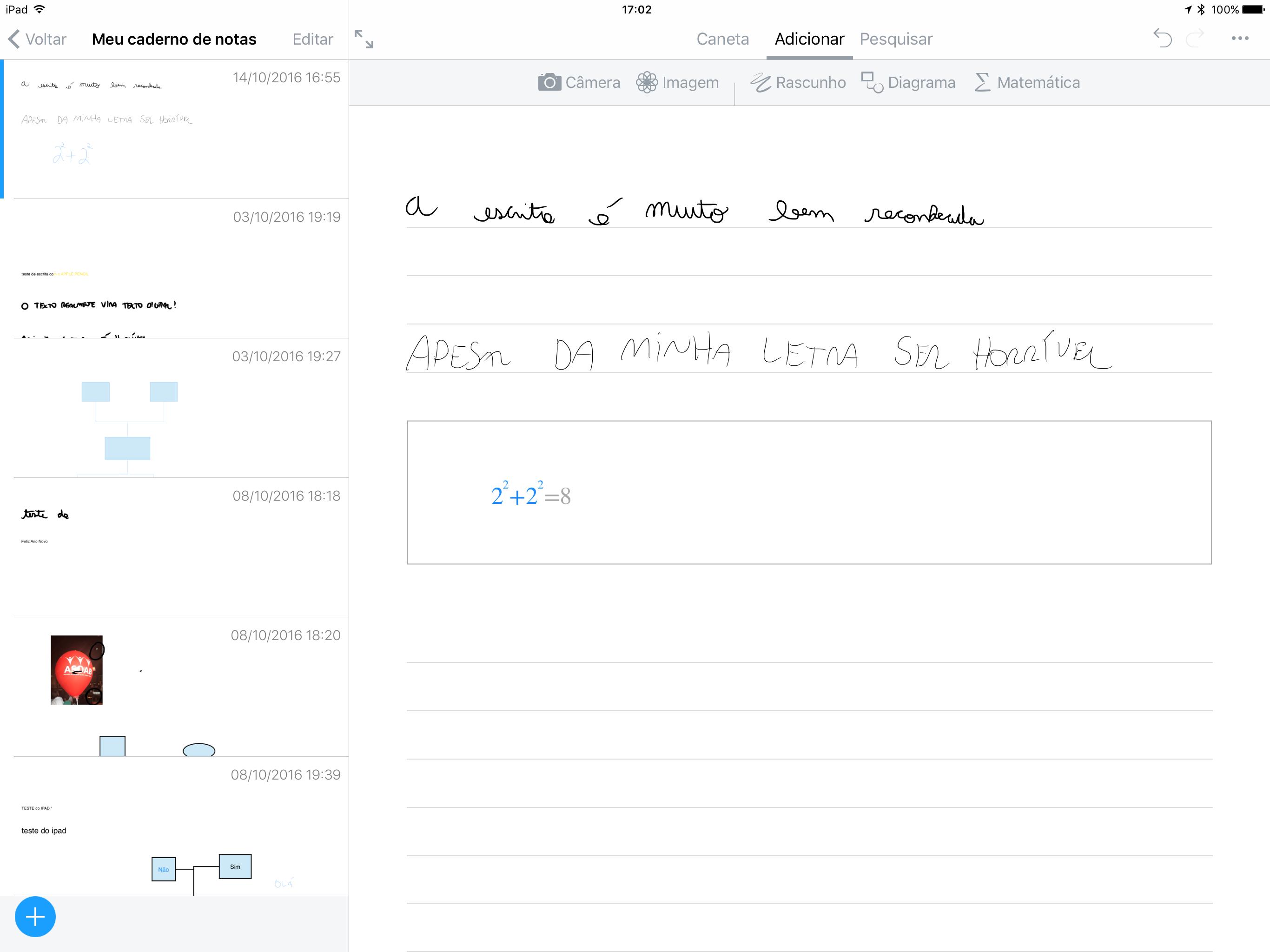 Equações matemáticas no app Nebo para iOS (iPads)