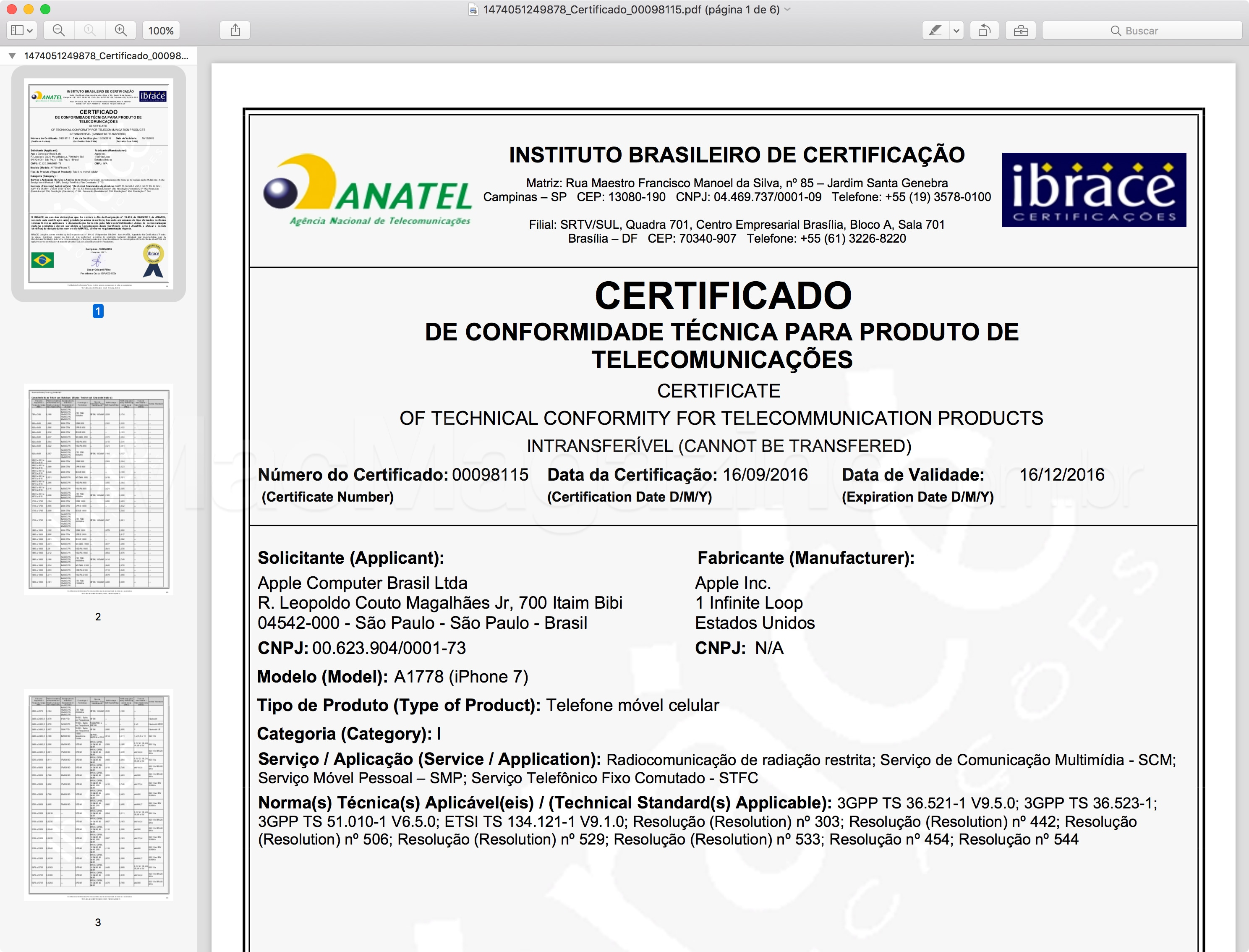 Certificado de Conformidade Técnica do iPhone 7 (A1778)