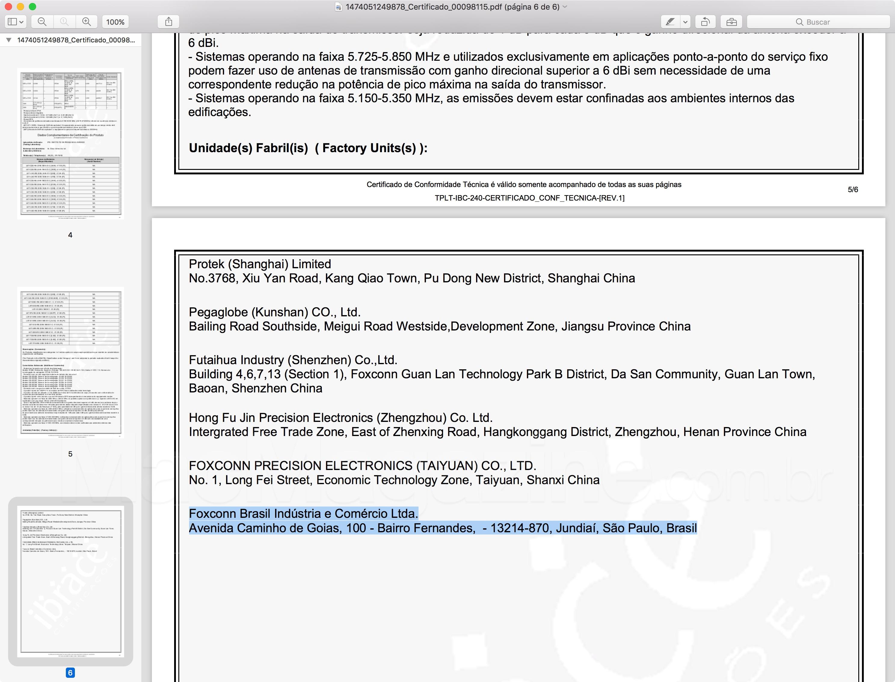 Foxconn Brasil no Certificado de Conformidade Técnica do iPhone 7 (A1778)