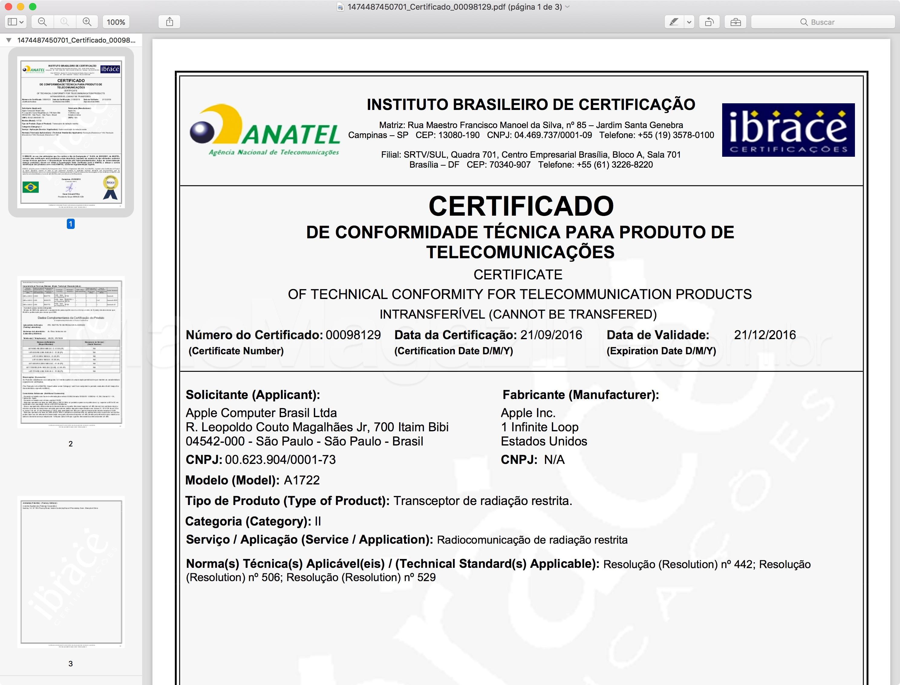 Certificado de Conformidade Técnica de um dos AirPods (A1722)