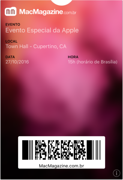 Ticket do evento especial de 27 de outubro