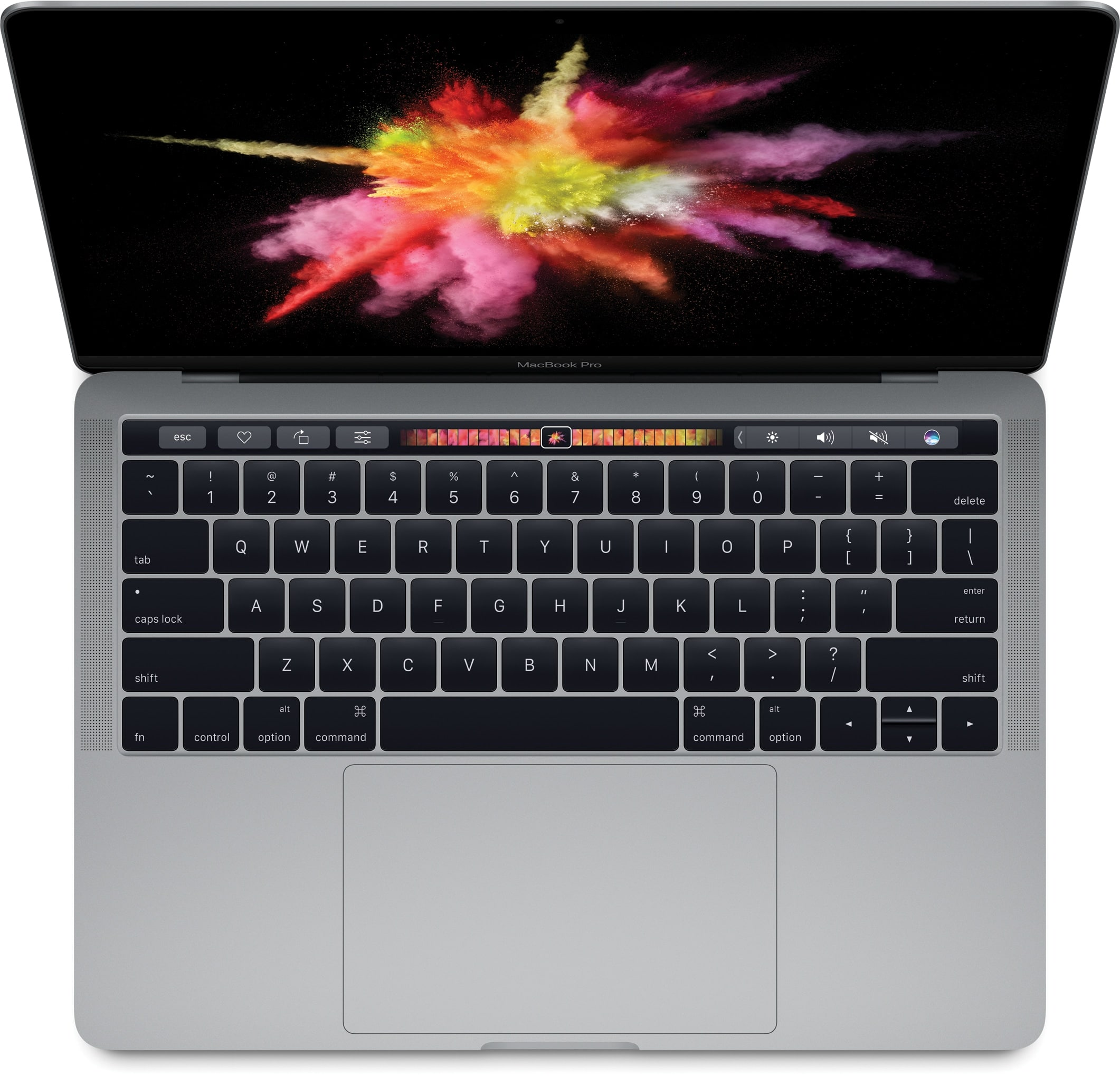 Novo MacBook Pro de cima com a Touch Bar