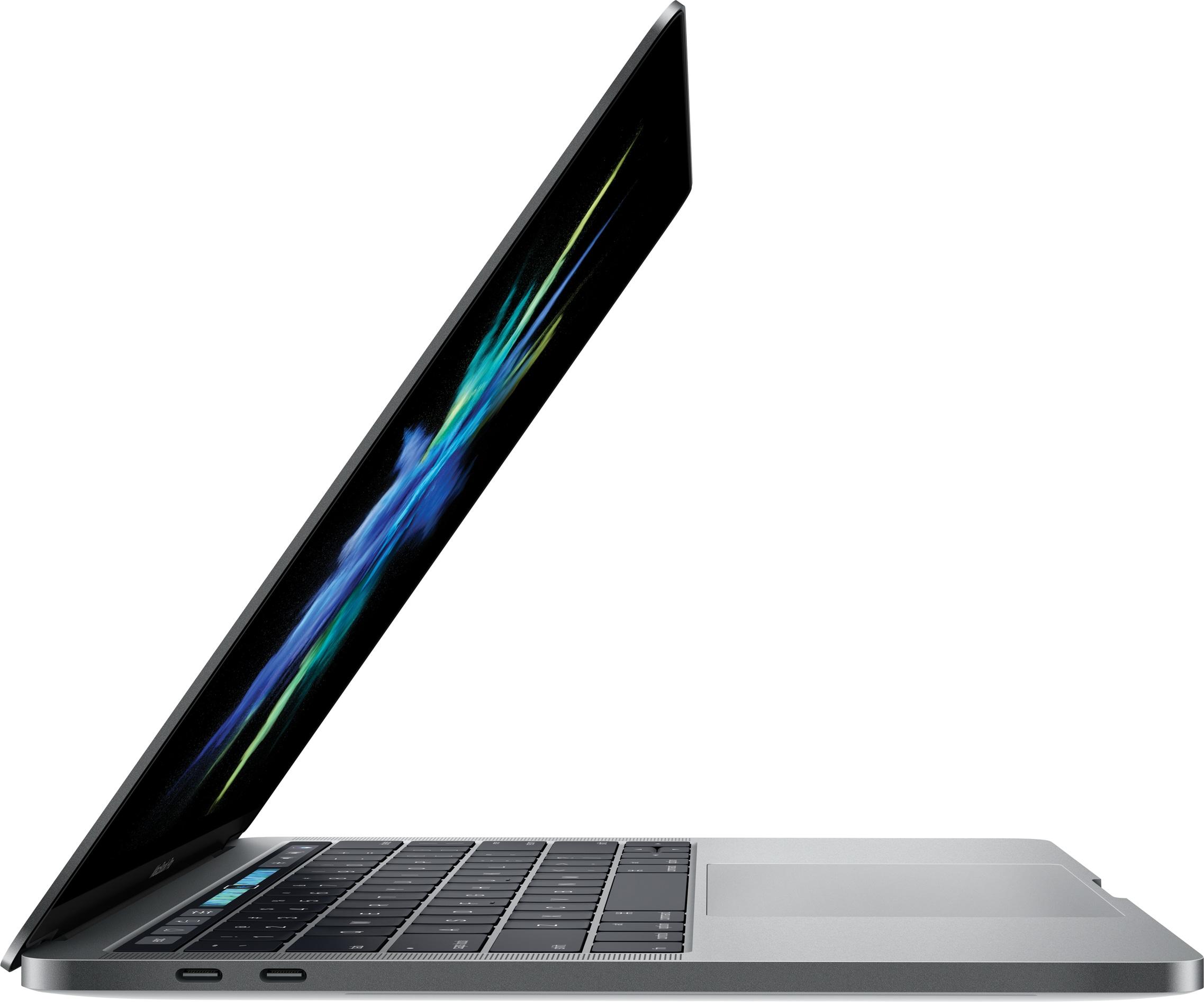 Novo MacBook Pro aberto de lado