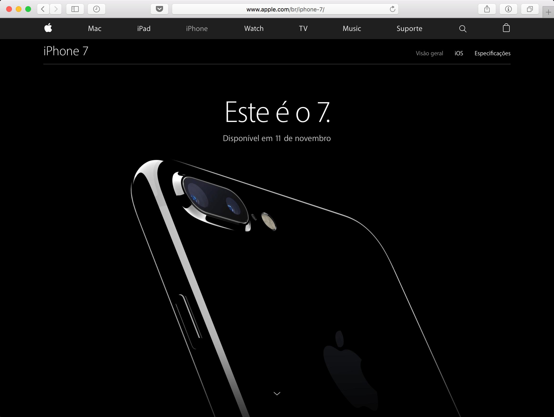 iPhone 7 no Brasil em 11 de novembro