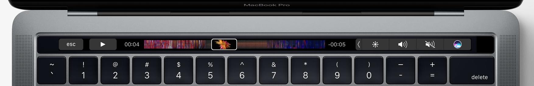 Closeup da Touch Bar do MacBook Pro