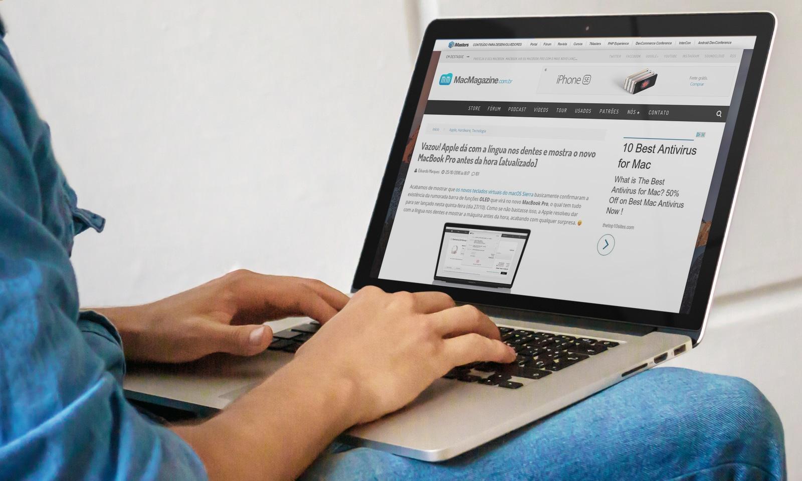 Página do MacMagazine em um MacBook Pro