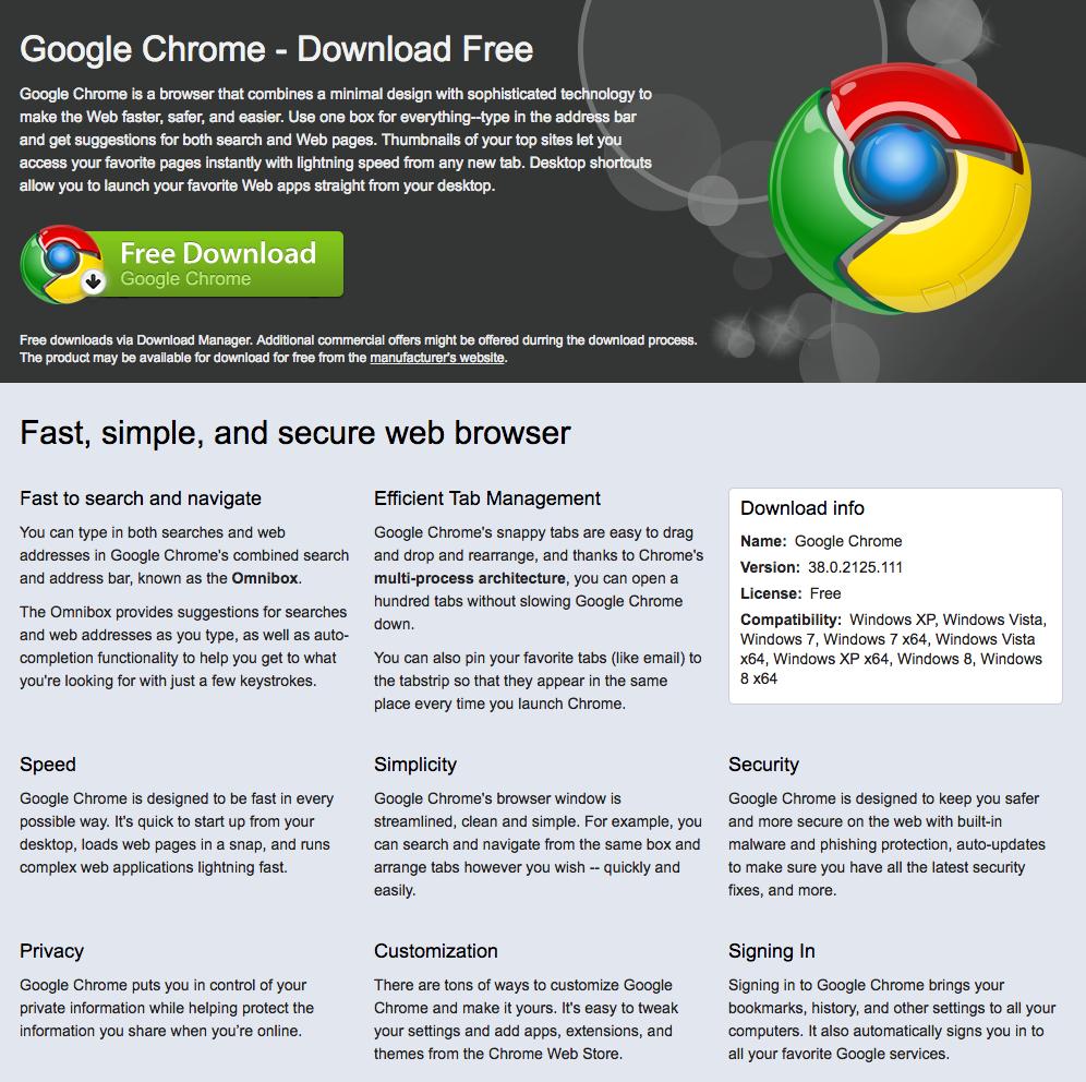 Página falsa do Google Chrome