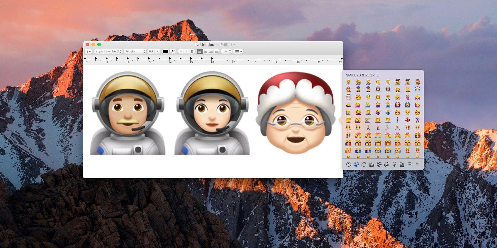 Novos emojis no macOS 10.12.2 beta 2