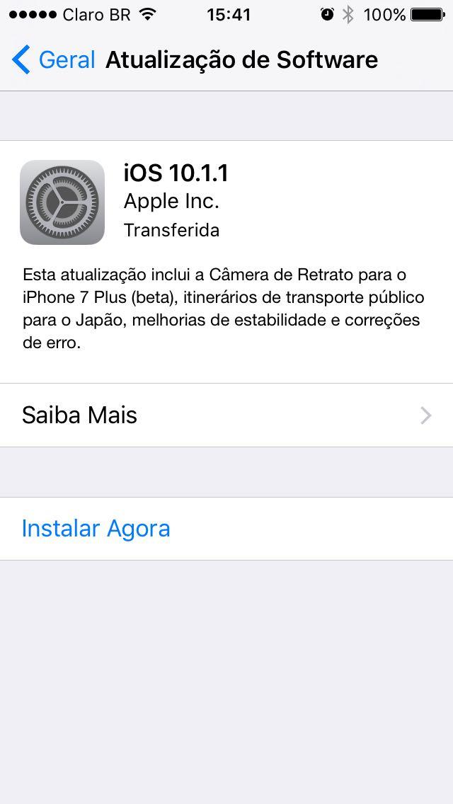 Notificação de atualização para nova compilação do iOS 10.1.1