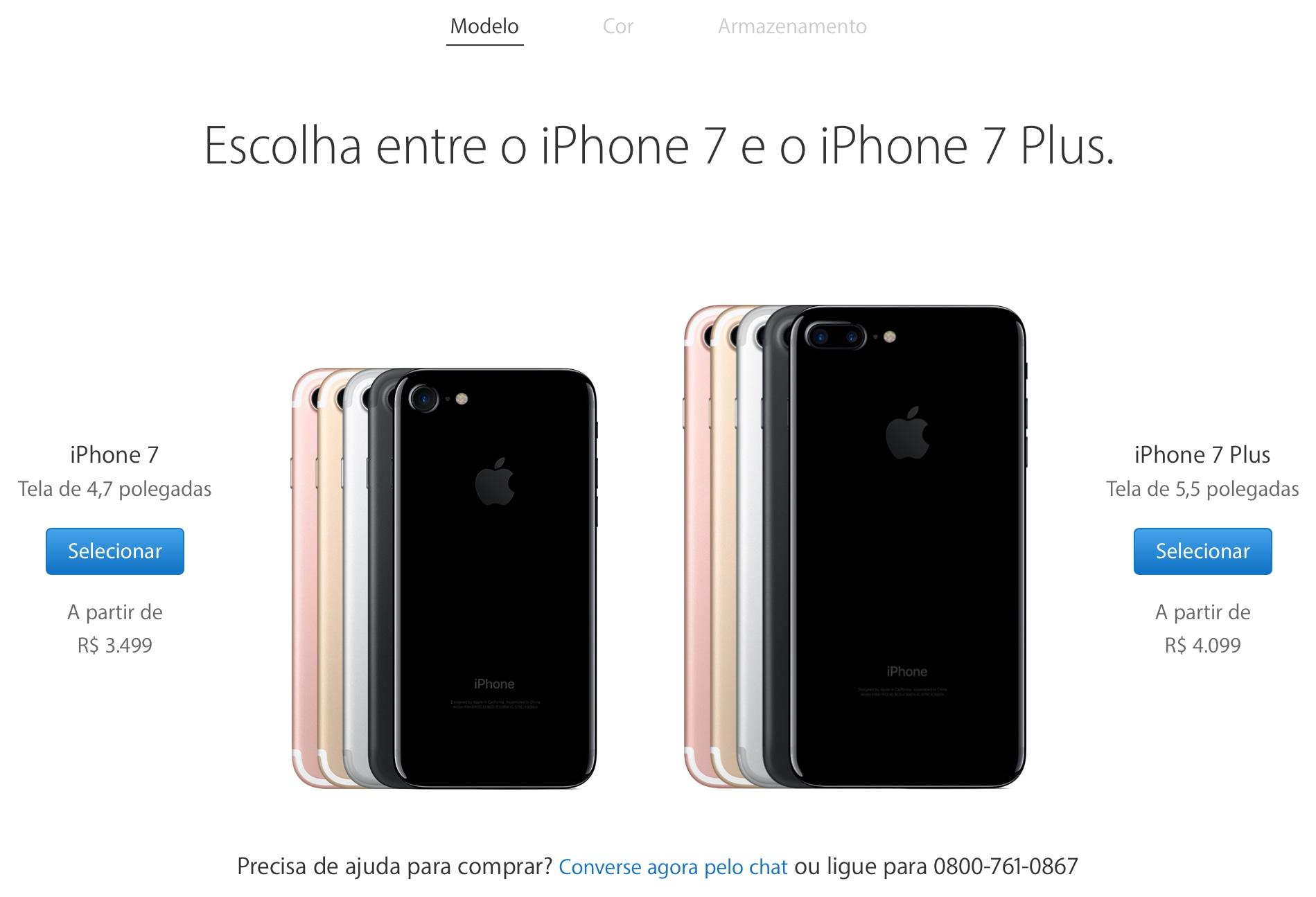 Página de venda dos iPhones 7/7 Plus