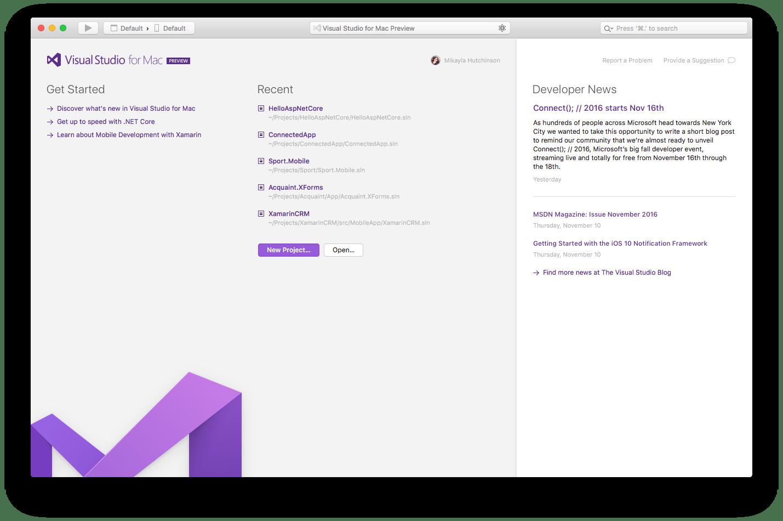 Microsoft Visual Studio for Mac Preview 1
