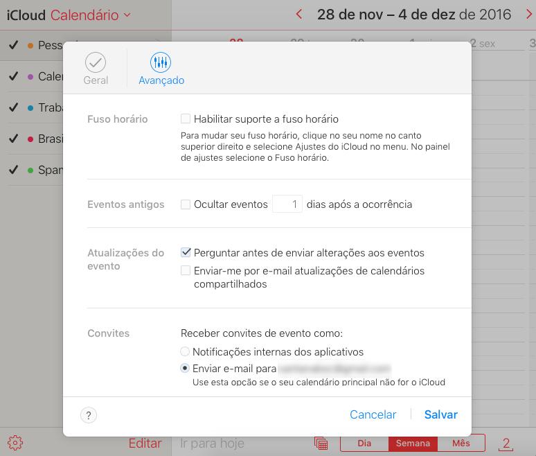 Alterando as configurações de convites no calendário do iCloud