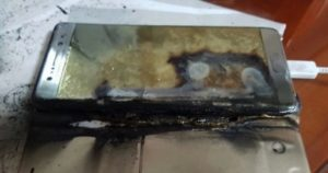 Samsung Galaxy Note7 incendiado