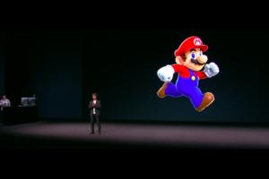 Miyamoto apresentando o jogo Super Mario Run no evento especial de setembro da Apple