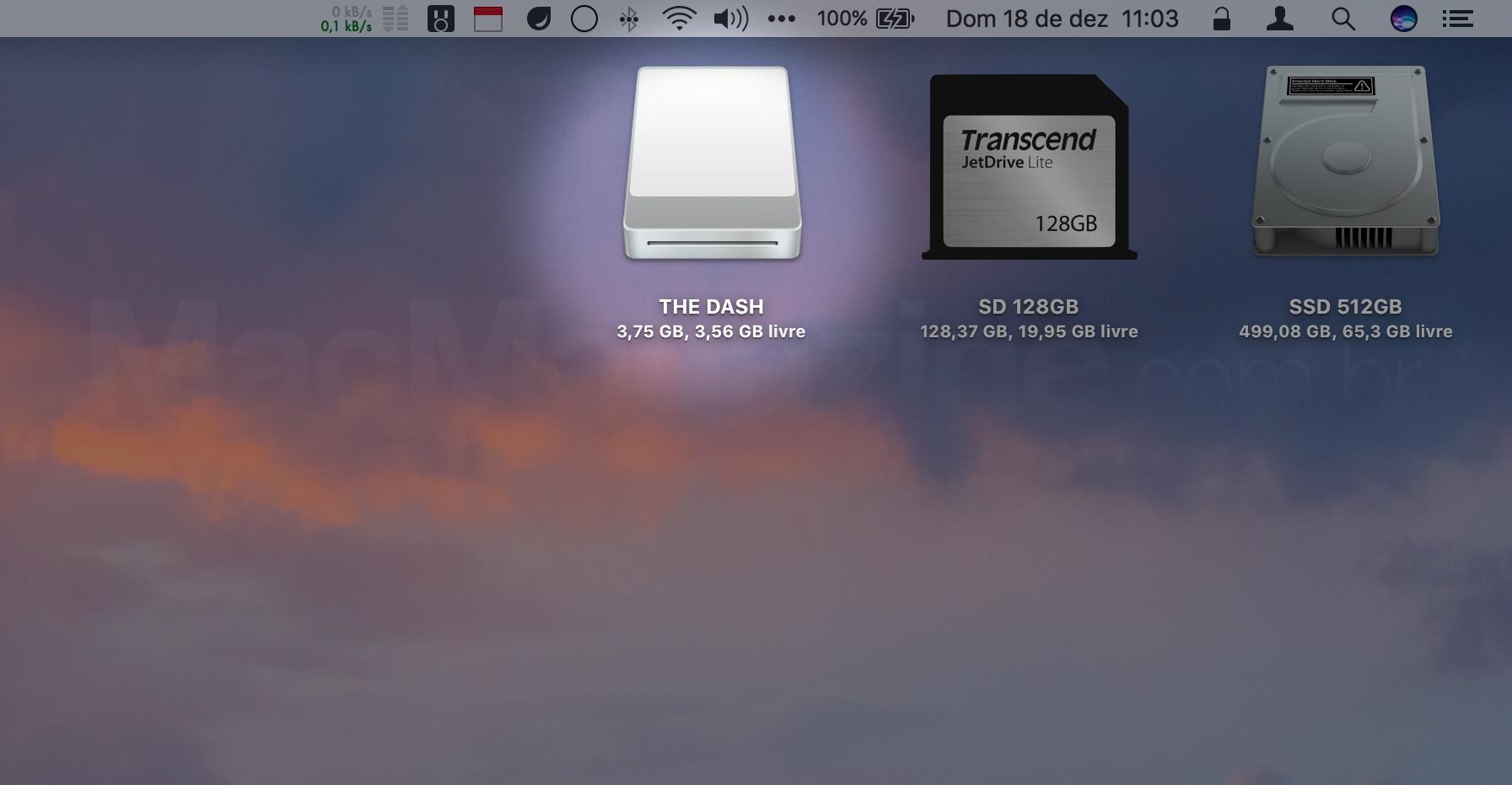 The Dash conectado ao Mac via USB