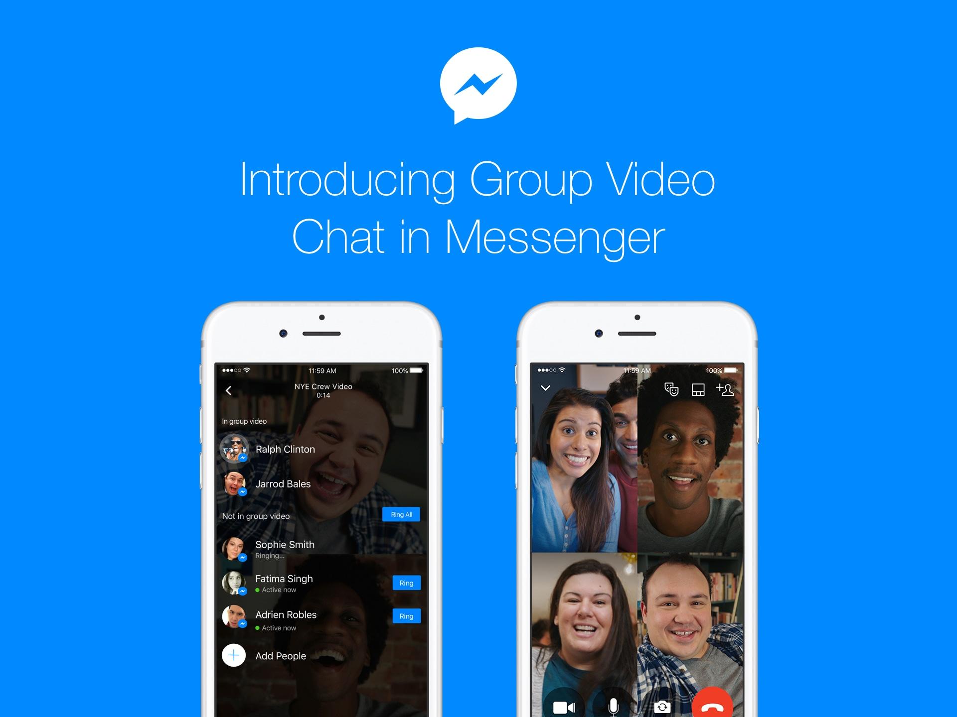 Videoconferência em grupo no Messenger