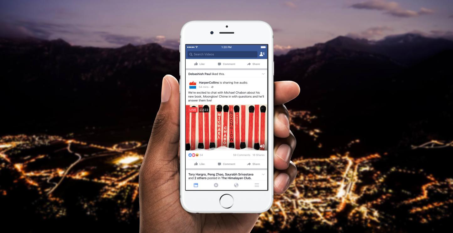 Transmissão ao vivo de áudio do Facebook