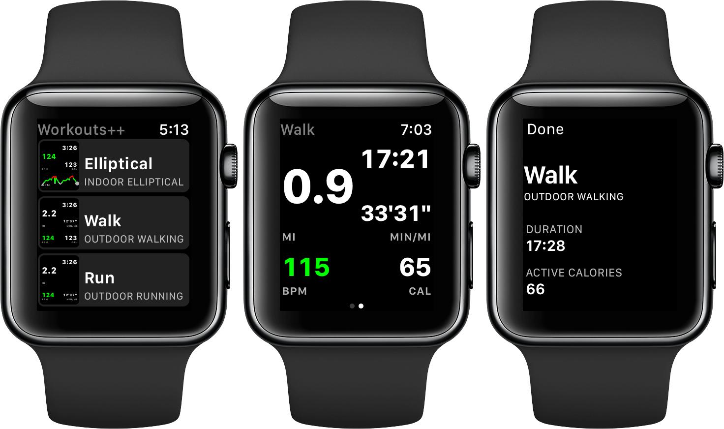 Aplicativo Workouts++ para Apple Watch