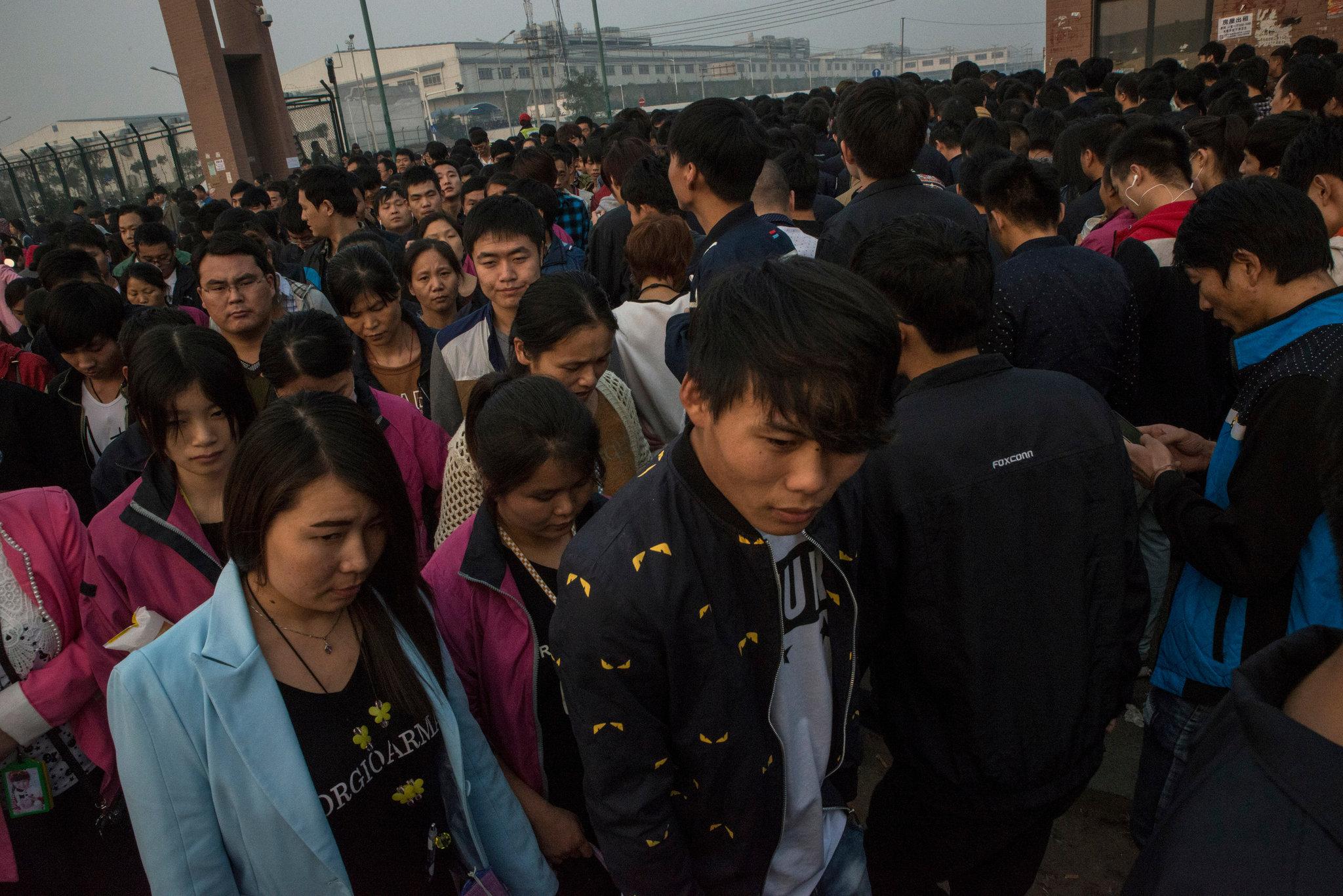 Empregados da Foxconn em Zhengzhou