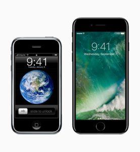 iPhone original e iPhone 7 lado a lado