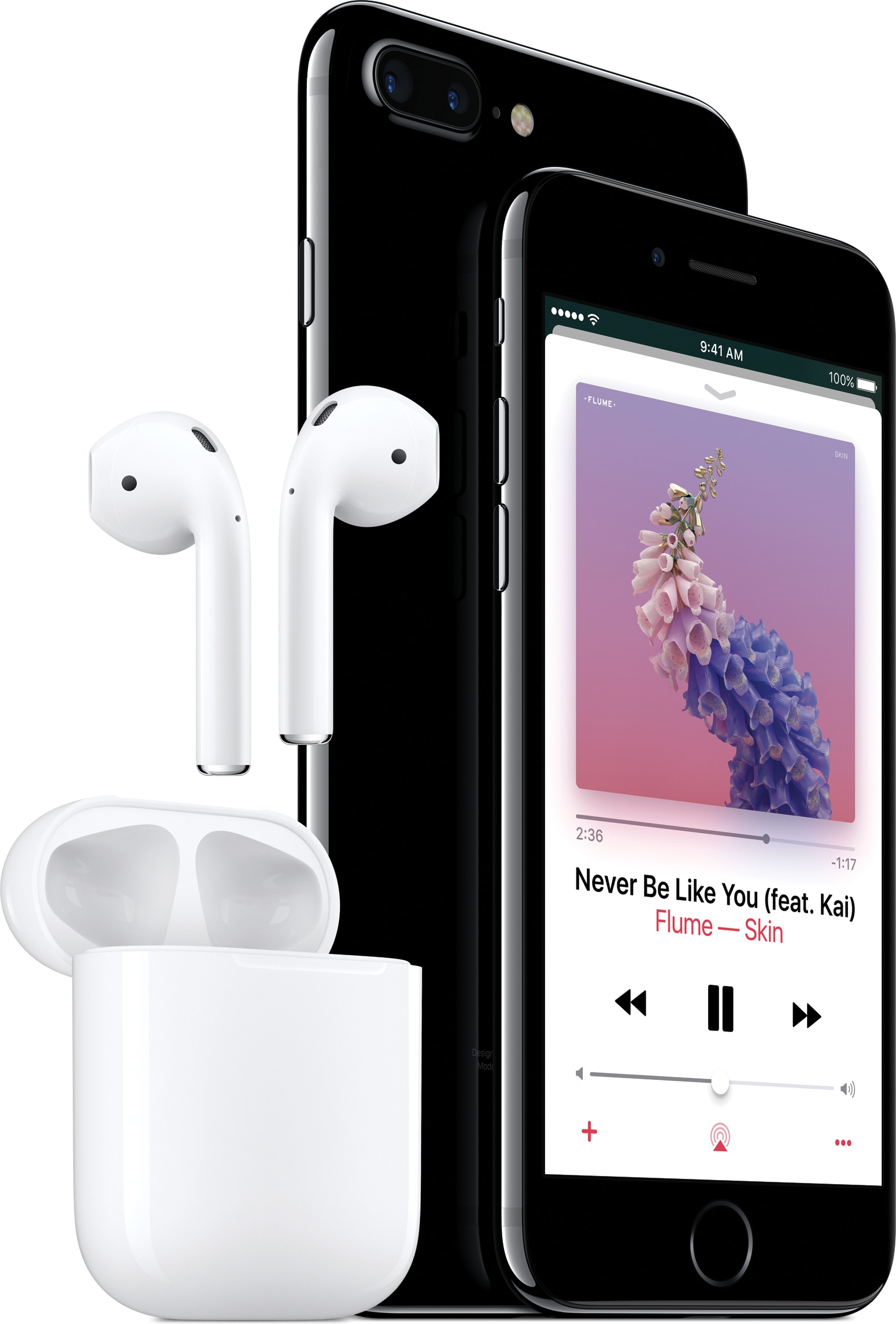 AirPods voando para fora do estojo com iPhones 7 do lado